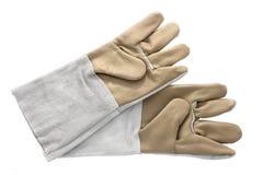 Rzemienne prac rękawiczki odizolowywać na bielu. Obrazy Stock