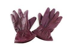 Rzemienne rękawiczki odizolowywać na biel Fotografia Stock