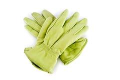 Rzemienne rękawiczki odizolowywać na biel Zdjęcia Royalty Free