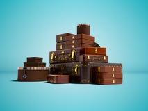 Rzemienne walizki i pudełka dla ruszać się 3D lub podróżować odpłacają się na błękitnym tle z cieniem royalty ilustracja