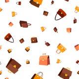 Rzemiennej torby Bezszwowy Deseniowy wektor Mody akcesorium elegancja styl Śliczna Graficzna tekstura tekstylny tło kreskówka ilustracja wektor