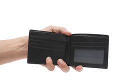 Rzemienny czarny portfel na białym tle zdjęcia stock