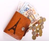 Rzemienny portfel i euro Fotografia Stock