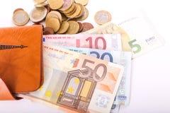 Rzemienny portfel i euro Obraz Stock