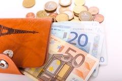 Rzemienny portfel i euro Zdjęcia Royalty Free