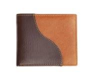 Rzemienny portfel na bielu Fotografia Royalty Free