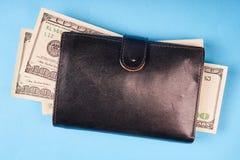 Rzemienny portfel z my dolary na barwionym papierowym tle obraz royalty free