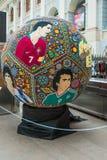 Rzemiosła Huichol mozaika koraliki Ikrustowana piłki nożnej piłka z portretami gracze futbolu Fotografia Royalty Free