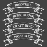 Rzemiosło browaru sklepu rynku emblemata piwny faborek Monochromatyczny średniowieczny ustalony rocznik ilustracja wektor