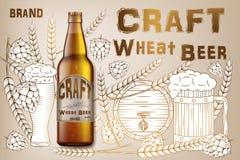 Rzemiosło reklam pszeniczny piwny projekt Realistyczny słodowy butelki piwo odizolowywający na retro tle z składników wheats, chm obraz stock