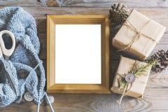 Rzemiosło prezentów mockup Fotografia Stock