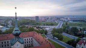 Rzeszow,波兰空中全景  免版税库存图片