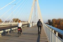 Rzeszow, Польша - 9 9 2018: Приостанавливанный мост дороги через реку Wislok Структура конструкции металла технологическая Соврем стоковое изображение