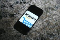 Amazon logo app on Samsung phone screen stock photo