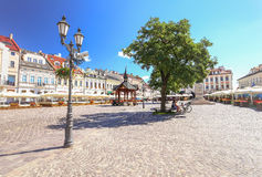 Rzeszow / View of the old square and wooden well. Rzeszow / View of the marketplace and old  wooden well Stock Photography