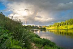 Admirable view of the stormy sky over the Volga river and its picturesque shores. Russian provincial town Rzhev. Royalty Free Stock Image