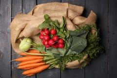 Rzodkiew, kalarepy i marchewki na, drewnianym tle i jutowej torbie Obrazy Stock