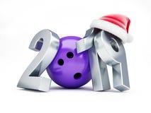 Rzucający kulą 2019 nowy rok na białej tła 3D ilustraci, 3D rendering Zdjęcie Stock