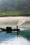 rzucona rybaka sieci rzeka Obrazy Royalty Free