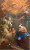 Rzym - Annunciation farba Andrea Casali w kościelnym Chiesa della Santissima Trinita degli Spanoli (1781) zdjęcia stock