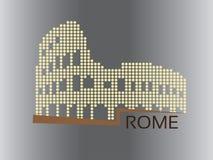 Rzym, Colosseum kropkująca stylowa ilustracja - obrazy stock