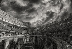 Rzym Colosseum wnętrze Monochromatic Zdjęcia Royalty Free