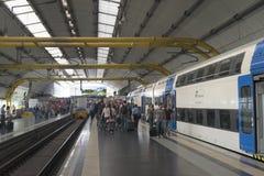 Rzym Fiumicino lotniska stacja kolejowa obraz stock