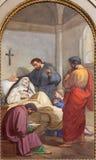 Rzym - fresk śmierć st Monica matka st Augustine w bazylice Di Sant Agostino Zdjęcia Stock