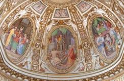 Rzym - główna apsyda z frescoes od życia maryja dziewica w kościelnym Chiesa Di Santa Maria ai Monti Fotografia Royalty Free