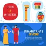 Rzym Horyzontalni sztandary Ustawiający royalty ilustracja