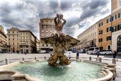Rzym, Lazio, Włochy Maj 22, 2017: Tritone Fontana Obraz Stock