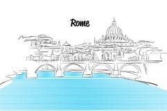 Rzym linii horyzontu wakacje konturu nakreślenie Obrazy Stock