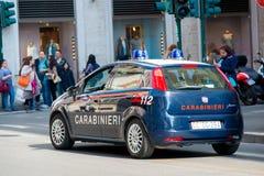 Rzym, MARZEC - 21, 2014: Samochód Policyjny na Marzec 21 wewnątrz Zdjęcia Royalty Free