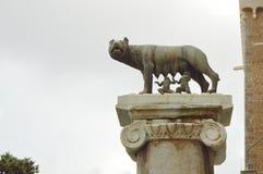 Rzym, październik 7, 2018: kapitoliński wilk, statua wilczy wykarmia Romulus założyciel Rzym i Remus przeciw niebu, zdjęcie stock