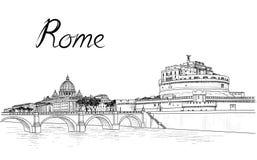 Rzym pejzaż miejski z St Peter ` s bazyliką Sant Angelo i kasztelem ilustracja wektor