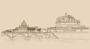 Rzym pejzaż miejski z St Peter ` s bazyliką Sant Angelo i kasztelem ilustracji