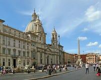 Rzym piazza Navona szczegóły Cztery Rzecznej fontanny obraz stock