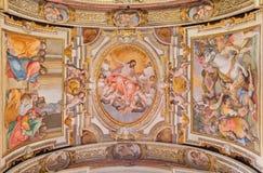Rzym - podsufitowy fresk G B Ricci frokm 16 cent w kościelnym Chiesa Di Santa Maria w Transpontina Fotografia Stock