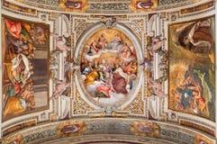 Rzym - podsufitowy fresk Gloria Di San Canuto w bocznej kaplicie kościelny Chiesa Di Santa Maria w Transpo Fotografia Royalty Free