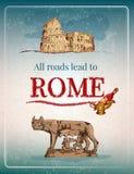 Rzym retro plakat ilustracji