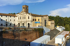 RZYM WŁOCHY, CZERWIEC, - 22, 2017: Bazylika St Bartholomew na wyspie w mieście Rzym Obrazy Royalty Free