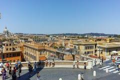 RZYM WŁOCHY, CZERWIEC, - 22, 2017: Odgórny widok hiszpańszczyzna kroki Di Spagna w mieście Rzym i piazza Obrazy Stock