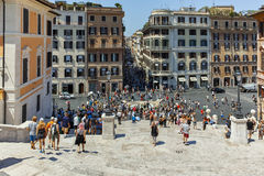 RZYM WŁOCHY, CZERWIEC, - 22, 2017: Odgórny widok hiszpańszczyzna kroki Di Spagna w mieście Rzym i piazza Zdjęcie Royalty Free