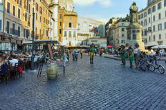 RZYM WŁOCHY, CZERWIEC, - 22, 2017: Zadziwiający Panoramiczny widok Campo De Fiori w mieście Rzym Fotografia Stock