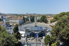 RZYM WŁOCHY, CZERWIEC, - 22, 2017: Zadziwiający Panoramiczny widok piazza Del Popolo w mieście Rzym Fotografia Royalty Free