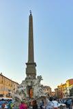 RZYM WŁOCHY, CZERWIEC, - 22, 2017: Zadziwiający Panoramiczny widok piazza Navona i Fiumi fontanna w mieście Rzym Obraz Stock