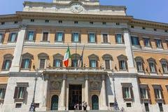 RZYM WŁOCHY, CZERWIEC, - 23, 2017: Zadziwiający widok Palazzo Montecitorio w mieście Rzym Obrazy Stock