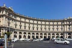 RZYM WŁOCHY, CZERWIEC, - 22, 2017: Zadziwiający widok piazza della repubblica, Rzym Zdjęcie Stock