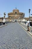 RZYM WŁOCHY, CZERWIEC, - 22, 2017: Zadziwiający widok St Angelo most Angelo w mieście Rzym i kasztelu st Zdjęcie Stock