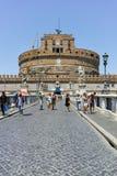 RZYM WŁOCHY, CZERWIEC, - 22, 2017: Zadziwiający widok St Angelo most Angelo w mieście Rzym i kasztelu st Zdjęcie Royalty Free